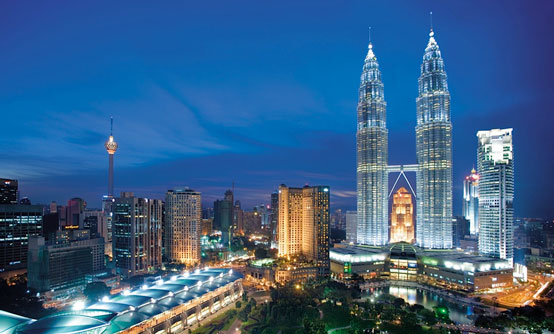 The Petronas Towers dominate the skyline in the Malaysian capital, Kuala Lumpur.